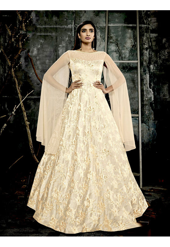 Nude Beige Long Party Gown