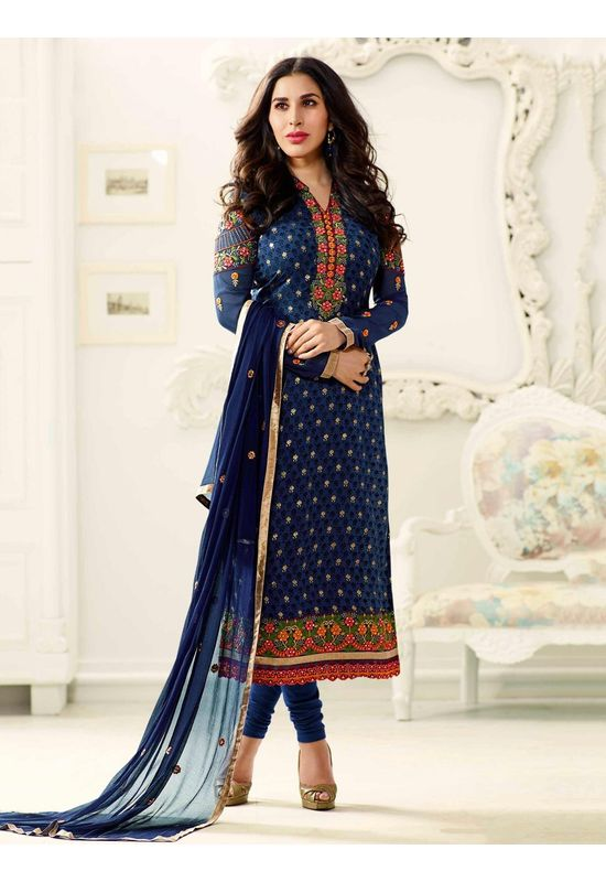 Sophie Chaudhary   blue georgette brasso suit with embroidery work