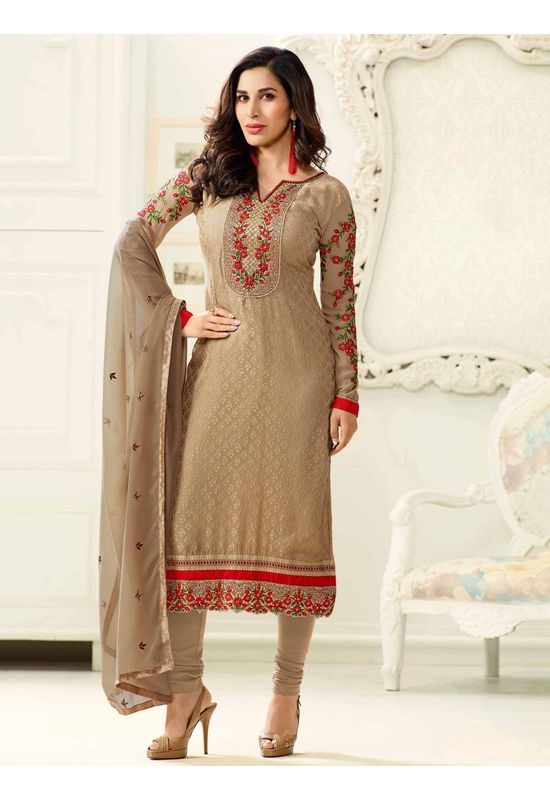 Sophie Chaudhary  beige georgette brasso suit with embroidery work