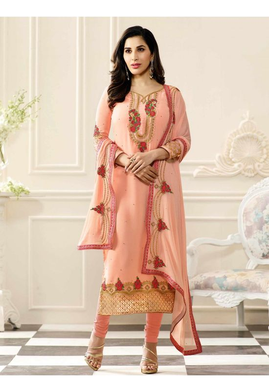 Sophie Chaudhary  peach georgette suit with embroidery work