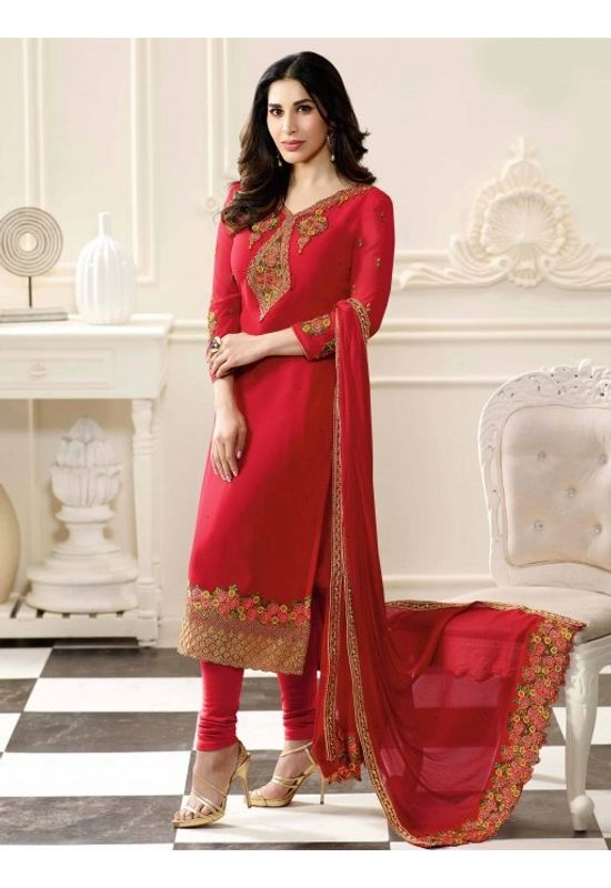 Sophie Chaudhary  Red Party Wear Straight Suit