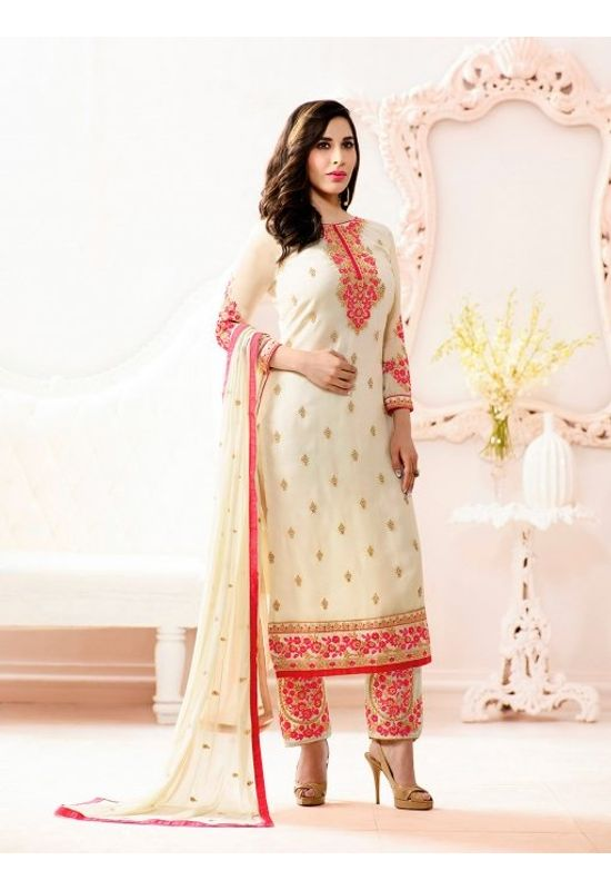 Sophie Chaudhary  white georgette suit with embroidery work
