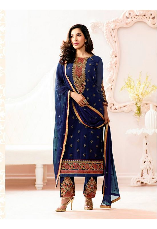Sophie Chaudhary   blue georgette suit with embroidery work