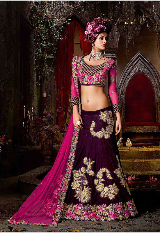 Party Wear Purple Color Velvet Lehenga
