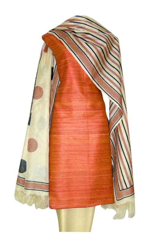 Block Printed Tussar Dress Material in Orange _10