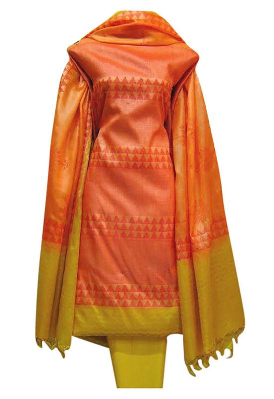 Block Printed Tussar Dress Material in Orange _12