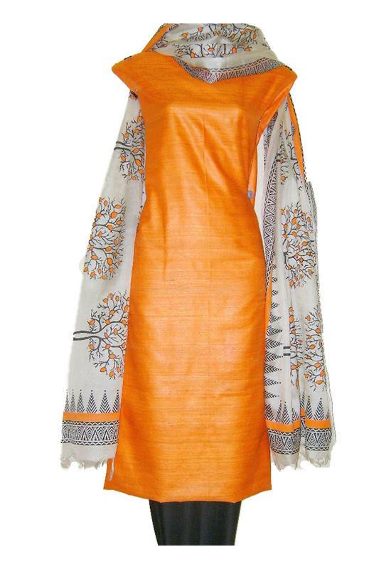 Block Printed Tussar Dress Material in Orange _13