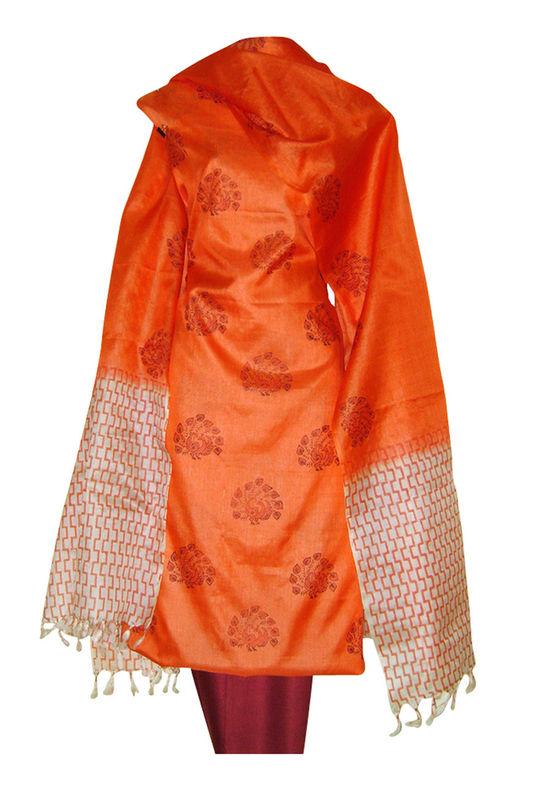 Block Printed Tussar Dress Material in Orange _14