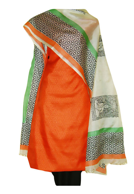 Block Printed Tussar Dress Material in Orange _17