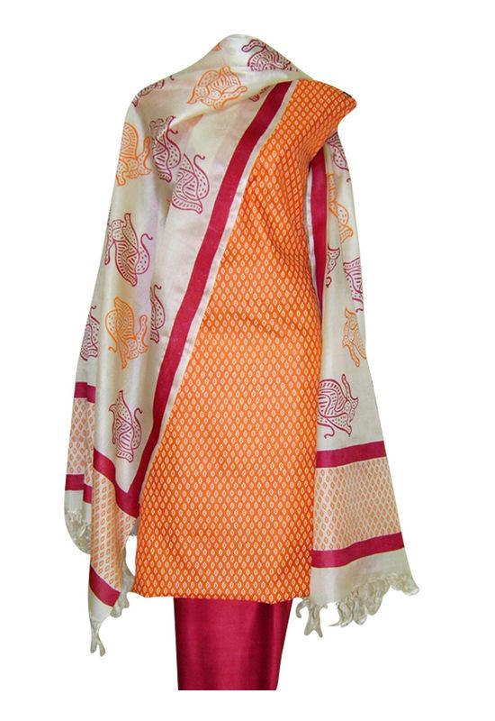 Block Printed Tussar Dress Material in Orange _19