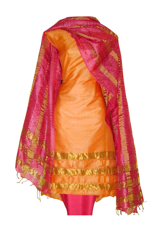 Block Printed Tussar Dress Material in Orange _21