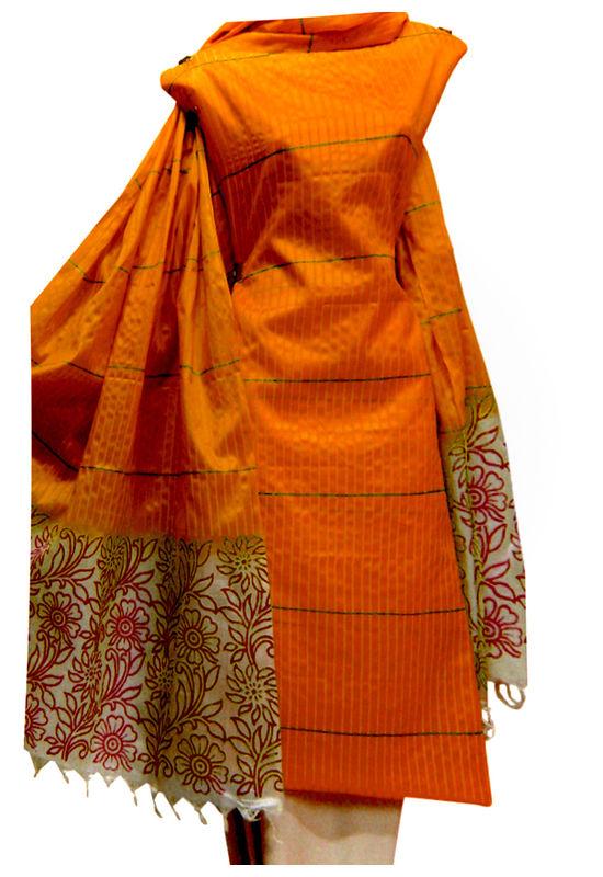 Block Printed Tussar Dress Material in Orange _23
