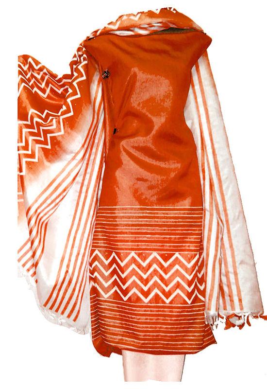 Block Printed Tussar Dress Material in Orange - White