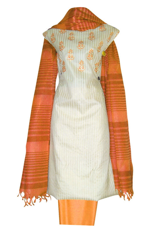 Block Printed Tussar Dress Material in Orange _6