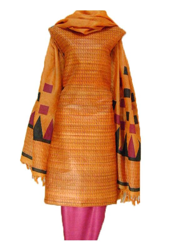 Block Printed Tussar Dress Material in Orange _7