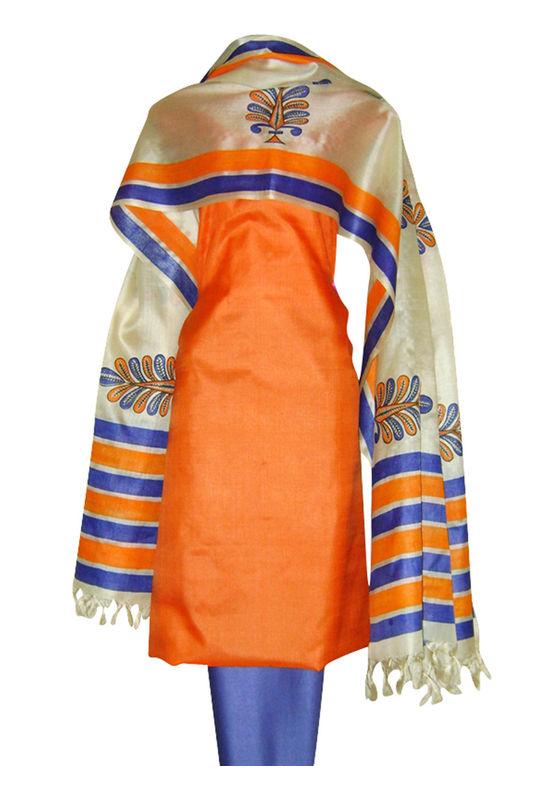 Block Printed Tussar Dress Material in Orange _8