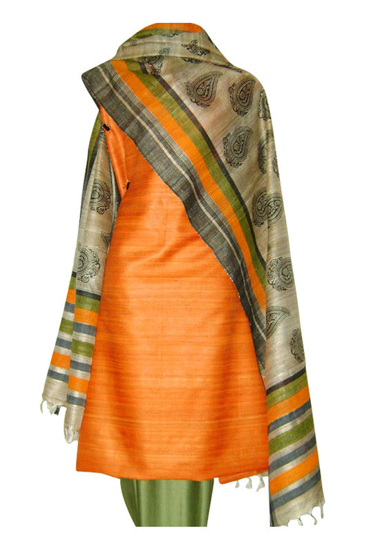 Block Printed Tussar Dress Material in Orange _9