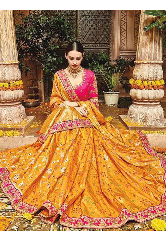 Mustard Yellow Kanjeevaram Silk Saree