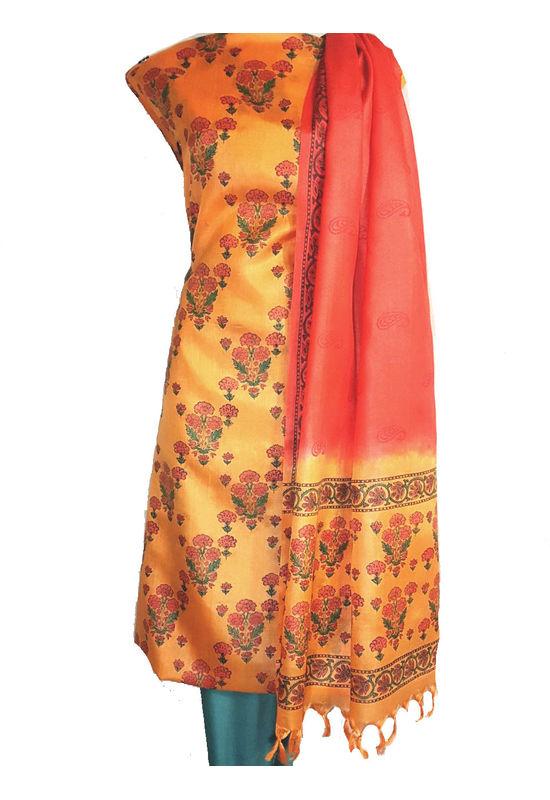 Pure Tussar Silk Material  in Yellow