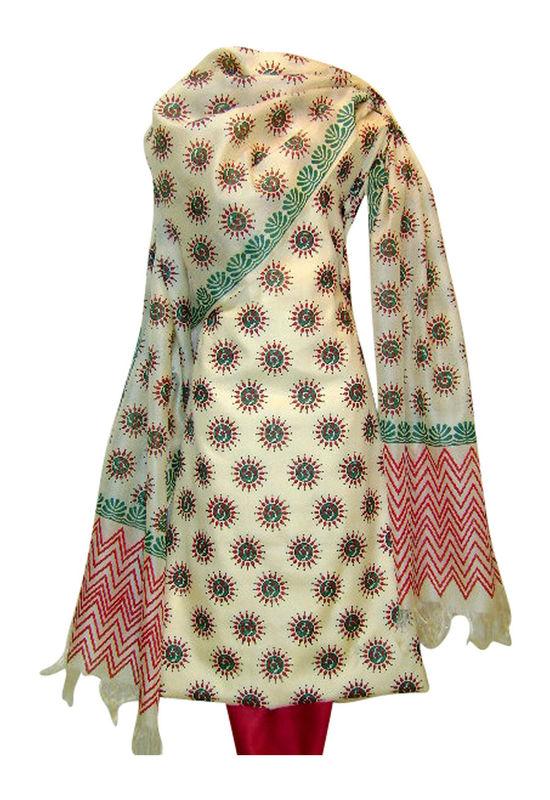 Tussar Silk Suit Fabric in Cream Shade_1