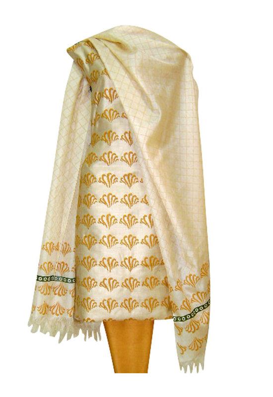 Tussar Silk Suit Fabric in Cream Shade_11