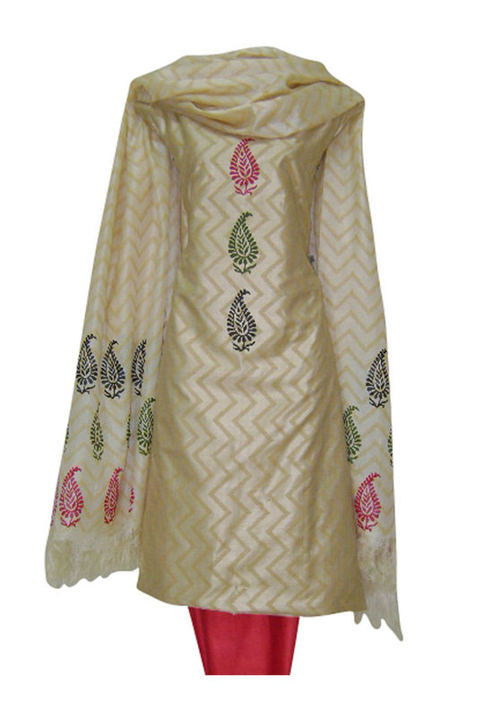 Tussar Silk Suit Fabric in Cream Shade_12