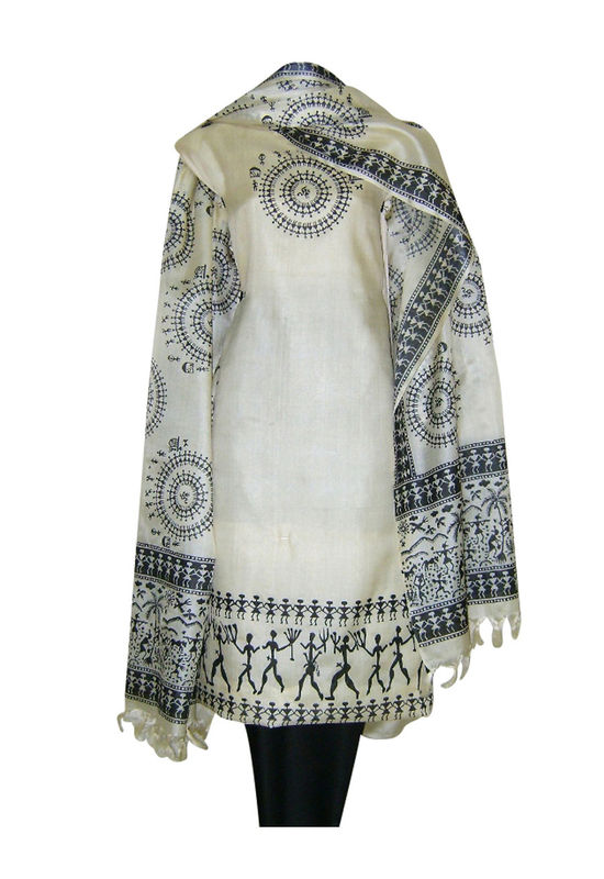 Tussar Silk Suit Fabric in Cream Shade_13
