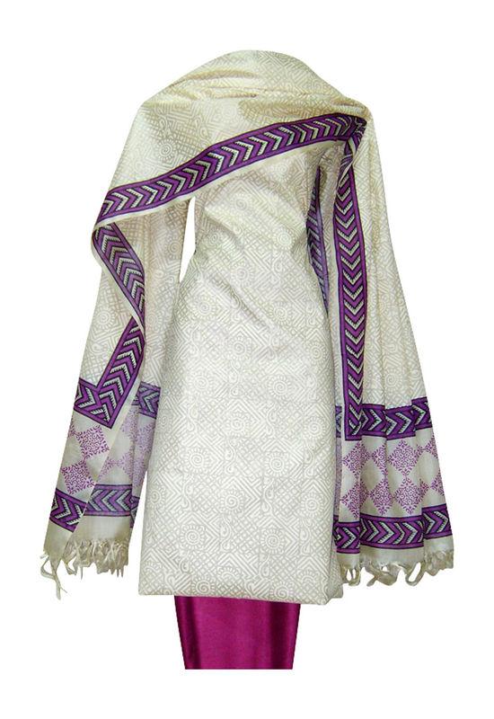 Tussar Silk Suit Fabric in Cream Shade_15