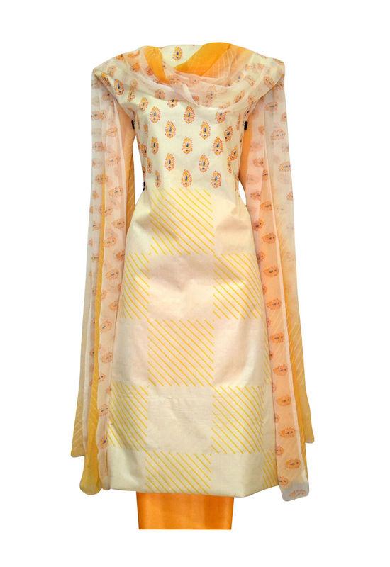 Tussar Silk Suit Fabric in Cream Shade_16