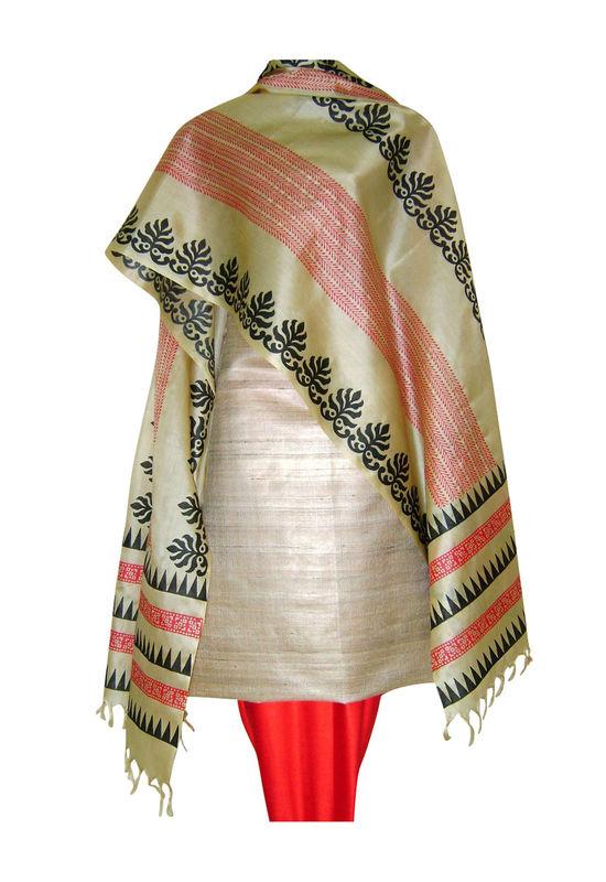 Tussar Silk Suit Fabric in Cream Shade_18