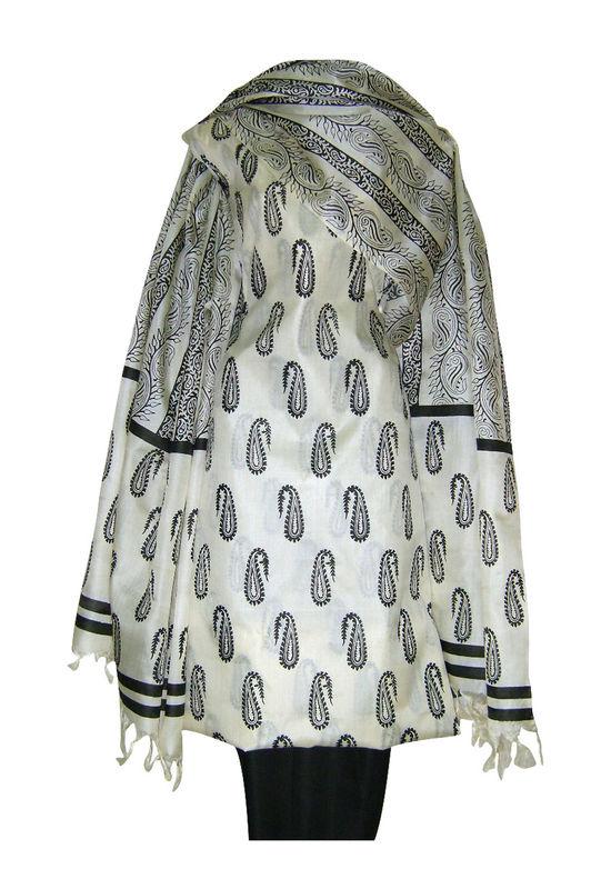 Tussar Silk Suit Fabric in Cream Shade_19