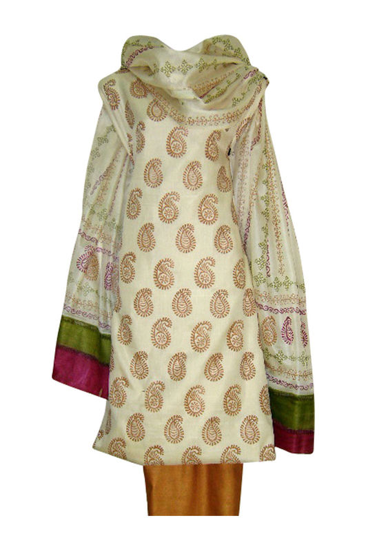 Tussar Silk Suit Fabric in Cream Shade_2