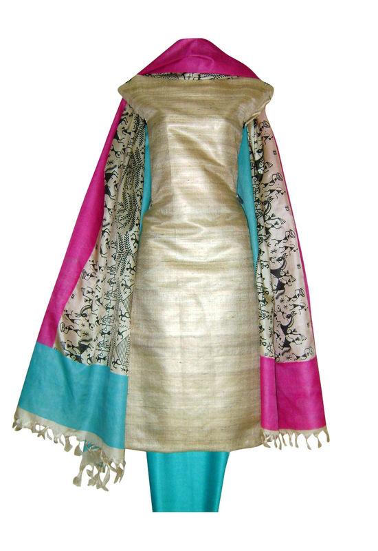 Tussar Silk Suit Fabric in Cream Shade_20