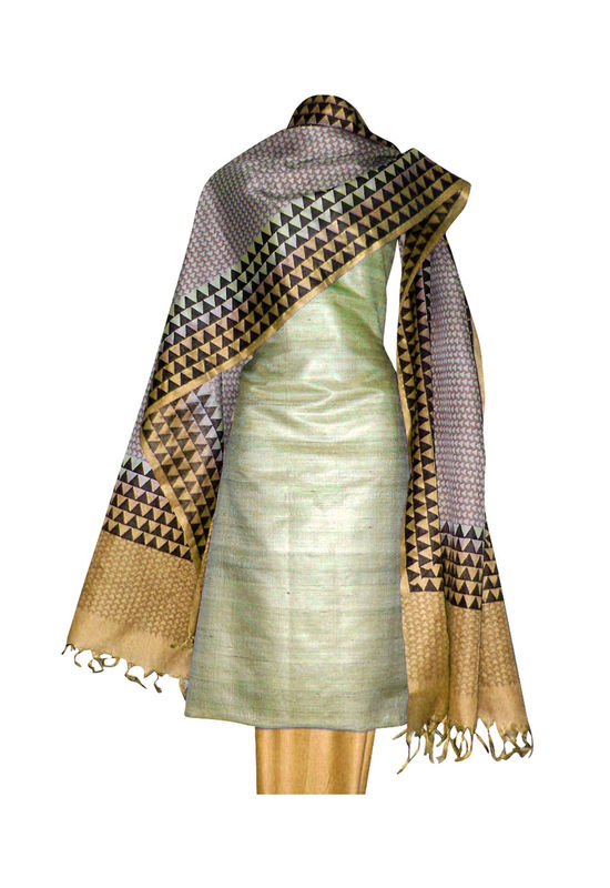 Tussar Silk Suit Fabric in Cream Shade_21