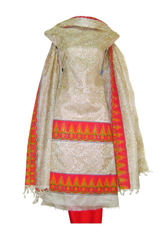 Tussar Silk Suit Fabric in Cream Shade_25