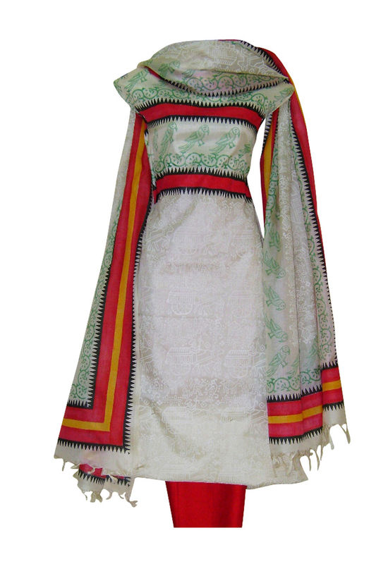 Tussar Silk Suit Fabric in Cream Shade_26