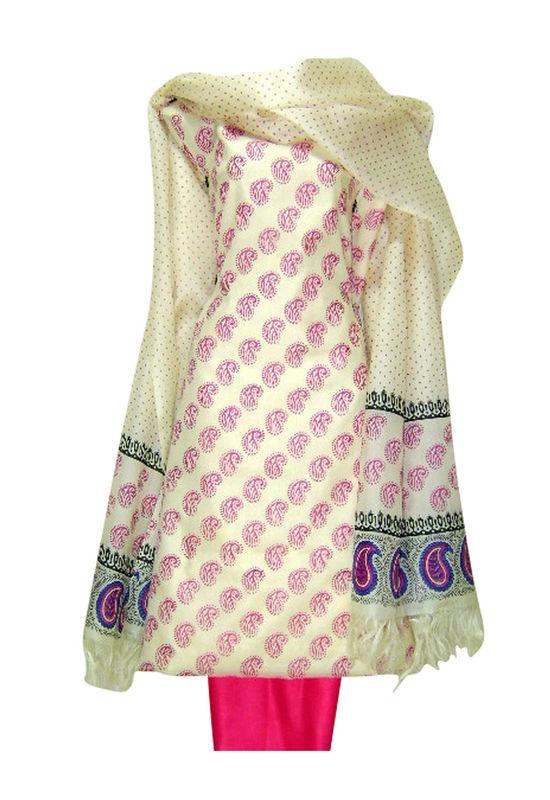 Tussar Silk Suit Fabric in Cream Shade_3