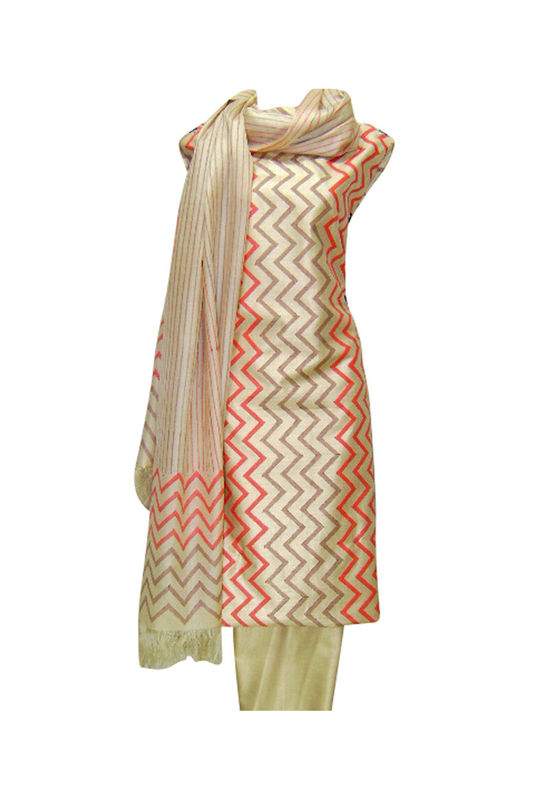 Tussar Silk Suit Fabric in Cream Shade_5