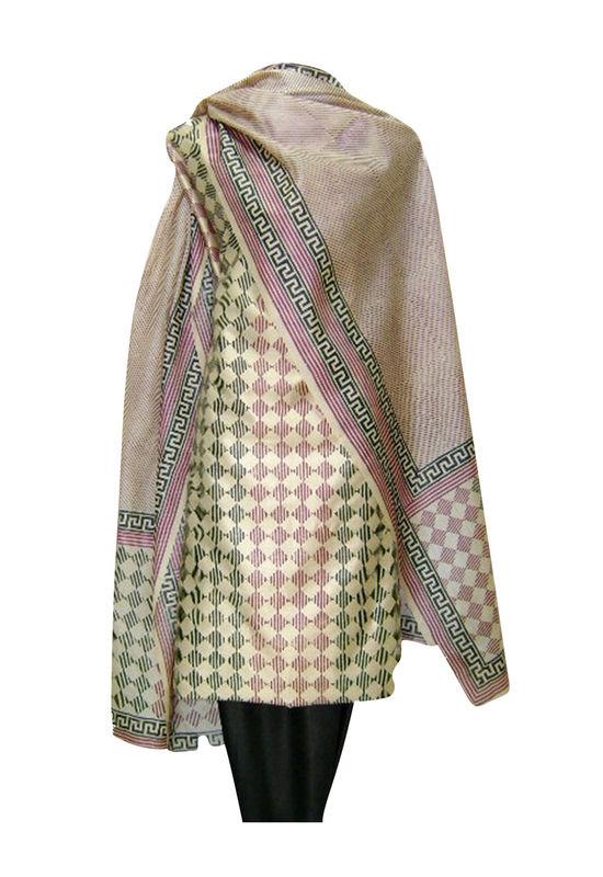 Tussar Silk Suit Fabric in Cream Shade_6