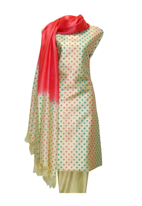 Tussar Silk Suit Fabric in Cream Shade with Polka Dots