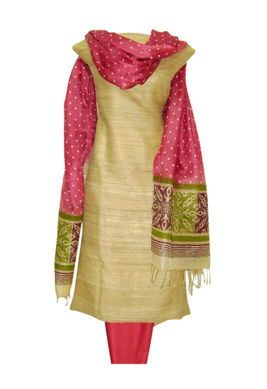 Tussar Silk Suit Fabric in Cream Shade_8