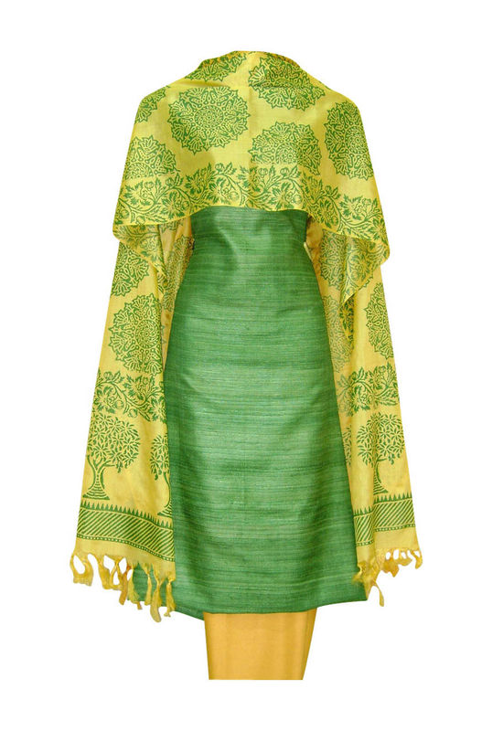 Tussar Silk Suit Block Printed In Green Shade _12
