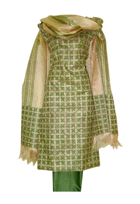 Tussar Silk Suit Block Printed In Green Shade _13