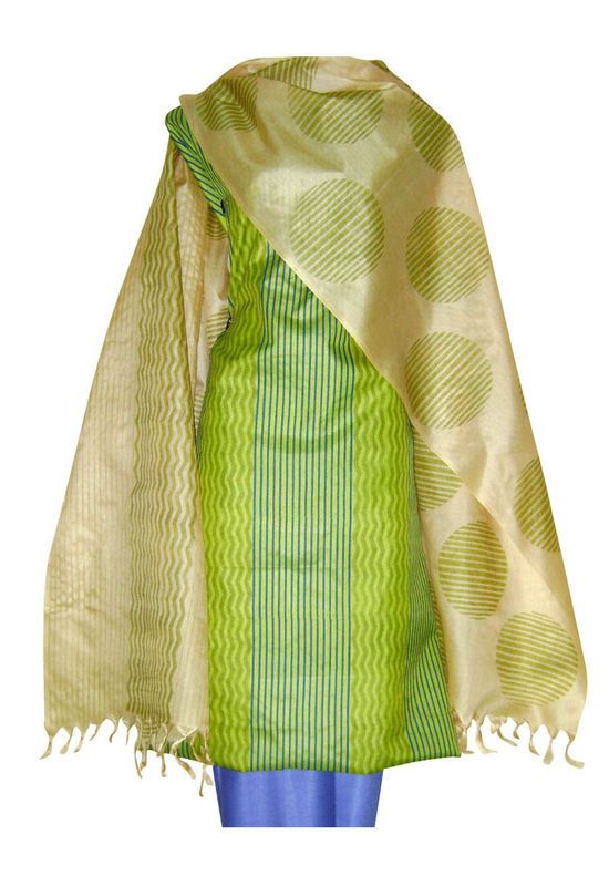 Tussar Silk Suit Block Printed In Green Shade _14