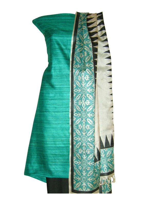 Tussar Silk Suit Block Printed In Green Shade _15