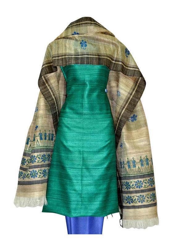 Tussar Silk Suit Block Printed In Green Shade _16