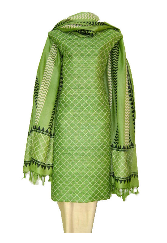 Dee's Alley Tussar Silk Suit In Green Color