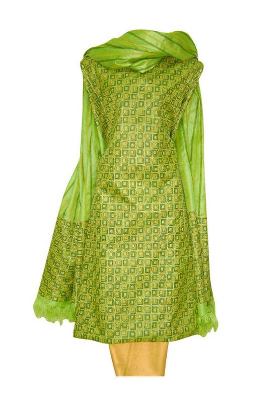 Tussar Silk Suit Block Printed In Green Shade _19