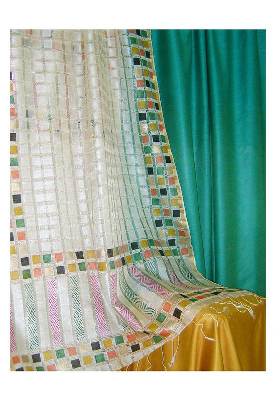 Tussar Silk Suit Block Printed In Green Shade _2