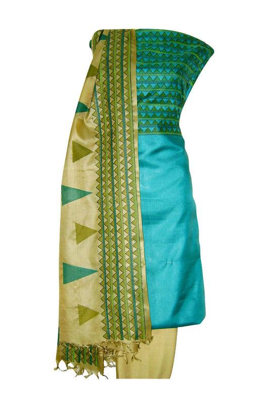Tussar Silk Suit Block Printed In Green Shade _20
